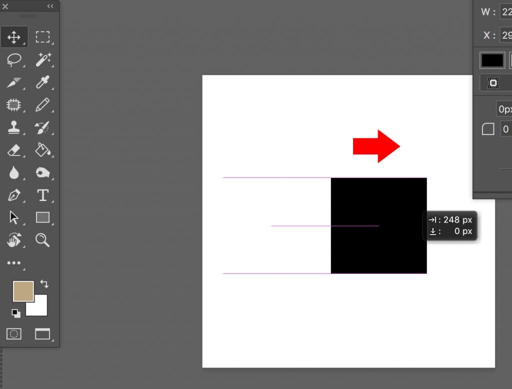 平行・垂直にオブジェクトを動かすにはShiftボタンを押しながらドラッグ