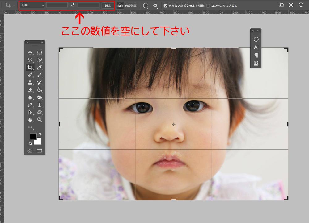 好きなサイズで写真を切り抜きたい時は、オプションバーの比率の設定を空にして下さい