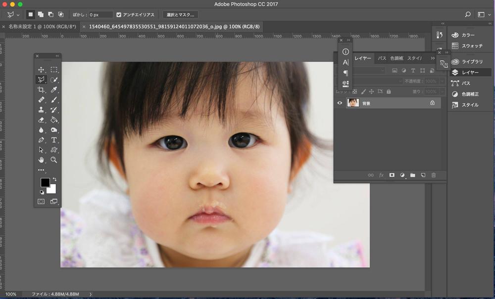 まずは切り抜きたい写真をPhotoshopで読み込みます